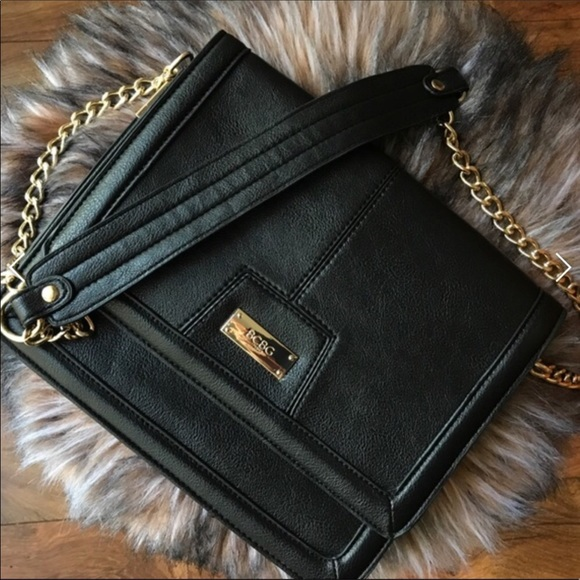 7a750c3b3f BCBG Handbags - BCBG Black Gold Chain Leather Handbag Purse